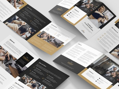 Barber Shop – Brochures Bundle Print Templates 5 in 1 hairdresser razor photoshop template gallery price table hair styling barber shop flyer template brochure template print templates flyers brochures