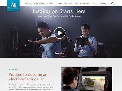 Art Institutes - Landing Page landing page art school hero player video player
