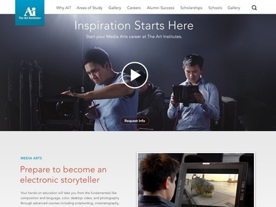 Art Institutes - Landing Page landing page art school hero player video player