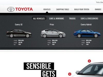 Toyota.com Vehicle Selector  toyota dropdown interactive web layout vehicle cars