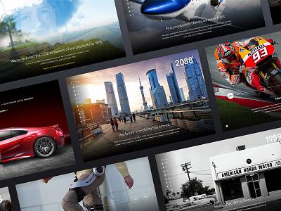 Honda.com Time Machine (timeline)  ux ui future longscroll website interactive honda automotive time machine timeline