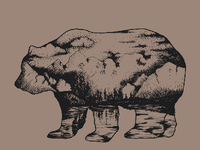 Crosshatching nature in a bear shape