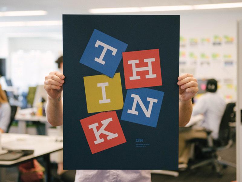THINK think ibm design ibm thomas j watson sxsw paul rand austin screenprint printmaking french paper texas