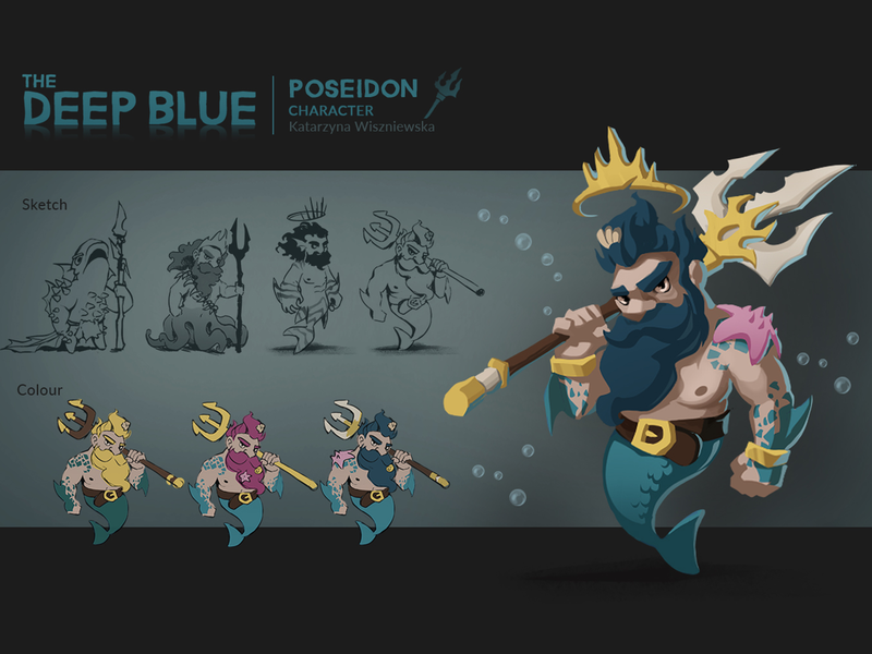 Character Concept: Poseidon cartoon mermaid poseidon character design concept art