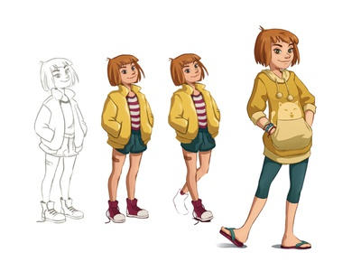 Character design: Sam cartoon step by step concept art girl character design