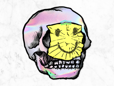 Holo-Skull hand drawn skull illustration sticker mule sticker holographic foil holographic