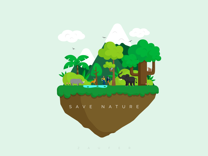 SAVE NATURE! dribbble best shot scenary jungle save animals animals forest save nature nature flat design inspiration design of the day creative design ux illustrator vector illustration adobe illustrator design
