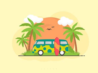 Tropical Diaries illustrator graphic design fun beach party surfing van beach tropical animation minimal adobe illustrator design inspiration flat vector logo branding ux illustration design