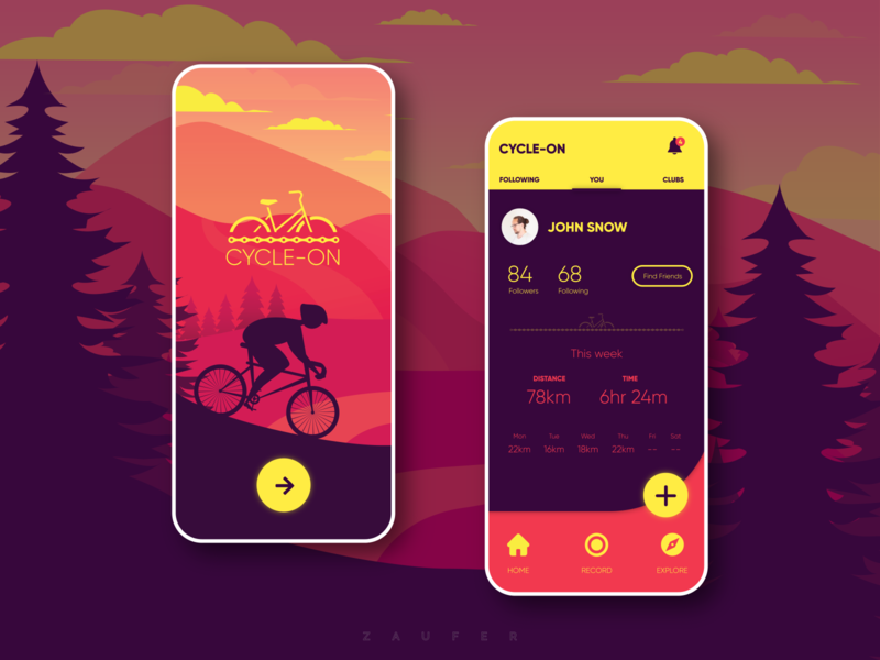 Cycle-On - Cycling App concept cycling app app branding cycling ux design ui  ux web minimal adobexd flat ui illustrator ux vector adobe illustrator illustration design