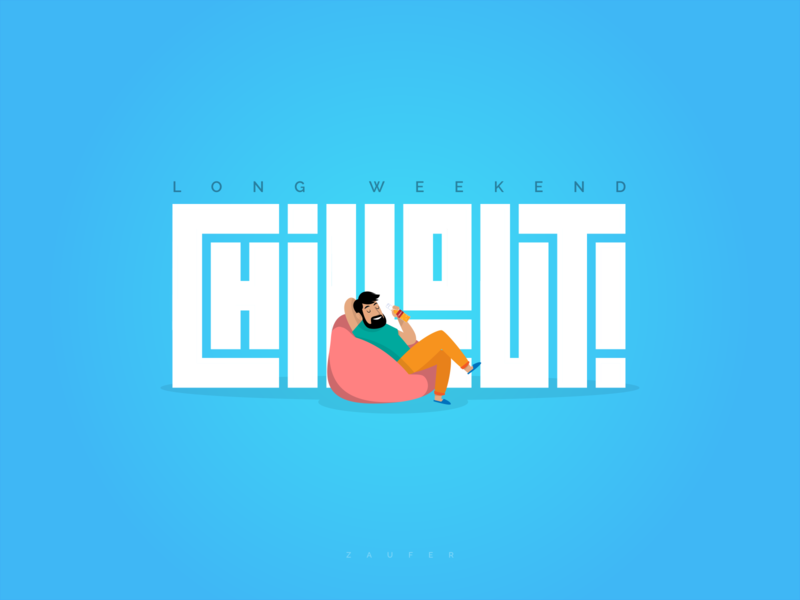 Long Weekend - Chillout chiilout chill weekend minimal app icon typography logo ux illustrator vector adobe illustrator illustration design