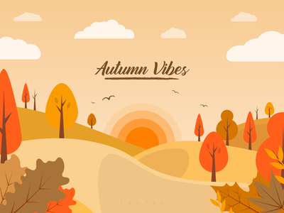 Autumn vibes - #dribbbleweeklywarmup artwork season nature trees abstract flat art autumn weekly minimal logo weeklywarmup illustrator vector adobe illustrator illustration design