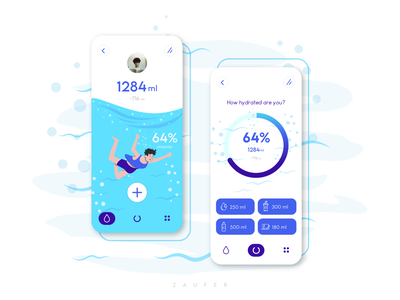 Get Hydrated - App Concept app design hydration water ui app minimal logo illustrator ux vector adobe illustrator illustration design