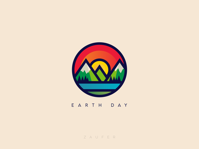 Earth Day logo colorful earth day minimal flat creative design illustrator vector adobe illustrator illustration design