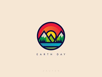 Earth Day logo colorful earth day minimal flat creative design illustrator vector adobe illustrator illustration design