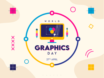 World Graphic Day - 27th April icon web branding design inspiration flat illustrator vector adobe illustrator world graphics day illustration design