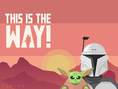 This is the Way! color yoda starwars mandalorian minimal creative design flat ux illustrator vector adobe illustrator illustration design