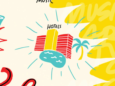 Hotels Illustration hand lettering lettering spread magazine published editorial turquoise teal illustration kiplingers