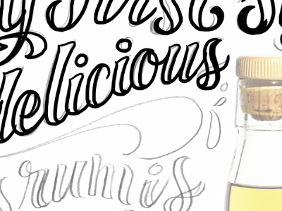 Drawing over a sketch freelance editorial lettering hand lettering scrtipt lettering