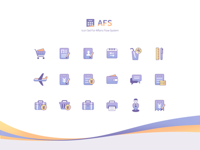 Icon set vacation travel system shopping reimbursement icons expense cart business
