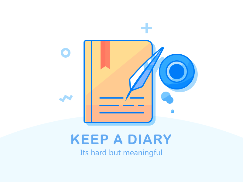 Keep a diary ink notebook quill diary book illustration