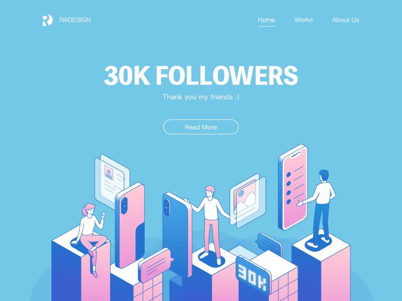 30K Followers web phone meeting isometric illustration 2.5d