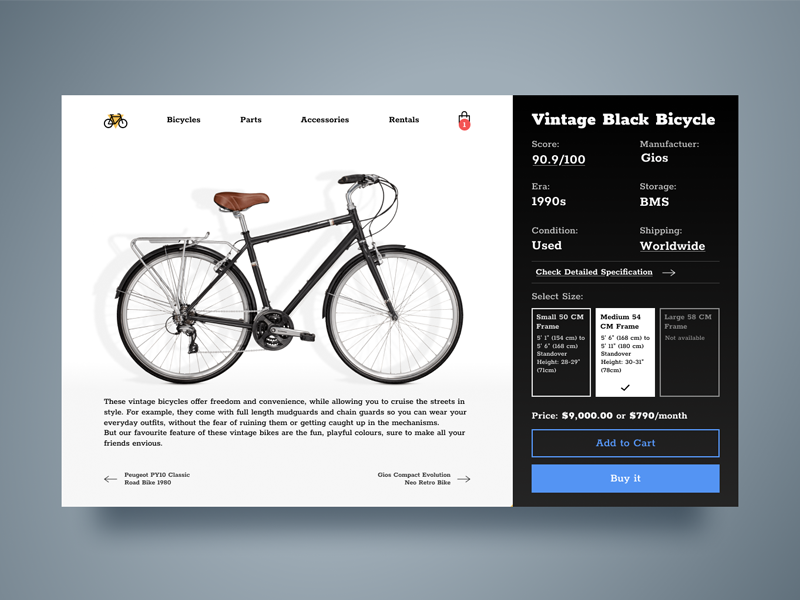 Bicycle Information Page shop bicycle page website site ui web design