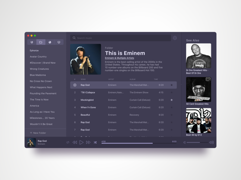 Clementine Music Player Redesign design mac app app ui interface music music app