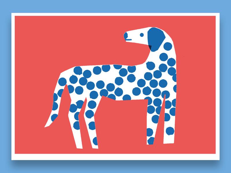 Spotty Dog risograph print illustration dalmatian dogs