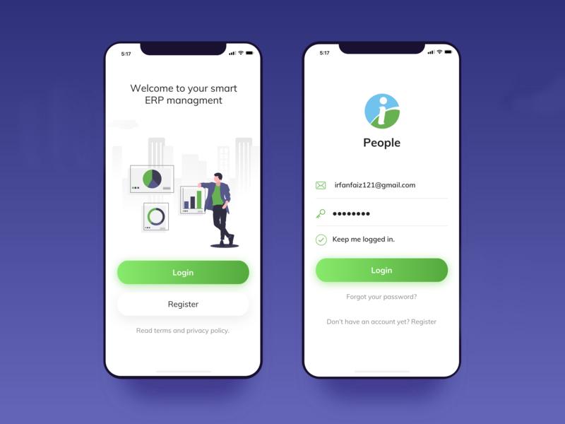 Login Screen chat ux illustration design app iphone ui