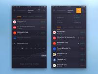 Trading app screens