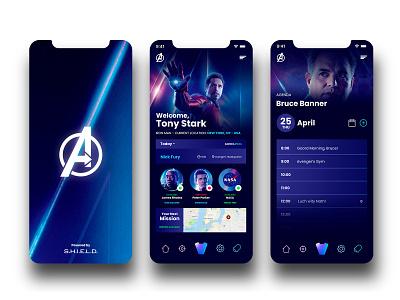 Avengers App hulk war machine peter parker shield bruce banner tony stark iron man marvel ui design ux design ux  ui ui ux mcu avengers