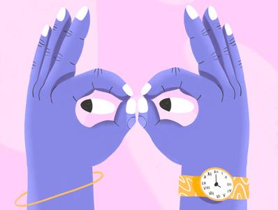 Helloooooooow birds bird purple pink nails procreate illustration illustrator design color watch hands pastel owl hand eyes
