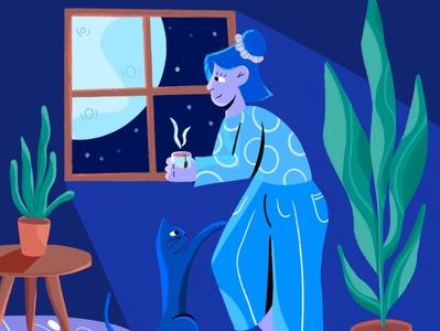 Sleep on it illustrator colour window ipad table interior stars light procreate illustration nightlife night plants characterdesign character cat team insomnia full moon fullmoon