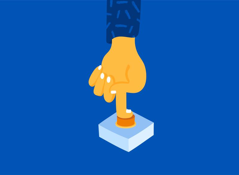 Don't press the Button cartoon illustration cartoon character nails button finger cartoon hand design color character illustrator illustration