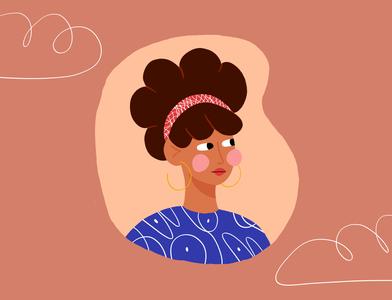 Sunday lazy Sunday women girl lipstick headband earring brush photoshop hair cloud digital illustration digital painting portrait texture character illustrator design color illustration