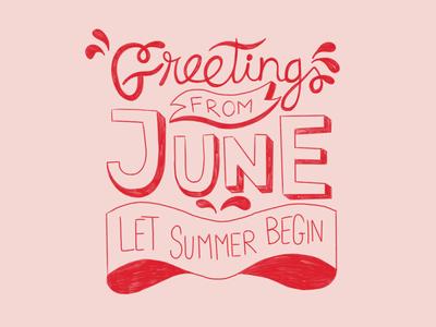 Let summer begin chalk texture pink red summer script letter handmadefont handmade font typography procreate hand design illustration