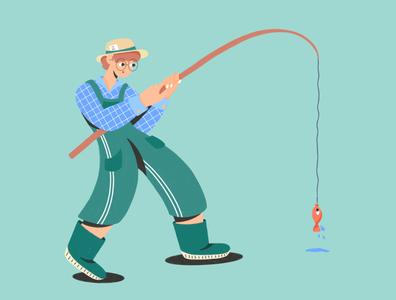 Fisherman overall nature green hand boot man boy design ipadpro fishing fisherman fish procreate character illustration