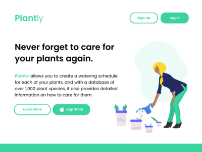 Plantly app concept – landing page gardening plants product design app concept figma ui user inteface landing page
