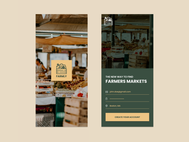 Create an account screen / Daily UI #001 daily ui challenge figma ux ui  ux farmers market create an account sign up screen app design daily ui 001 daily ui