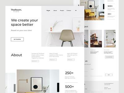 The Room Studio - Interior landing page furniture clean real estate web design minimalist landing page interior