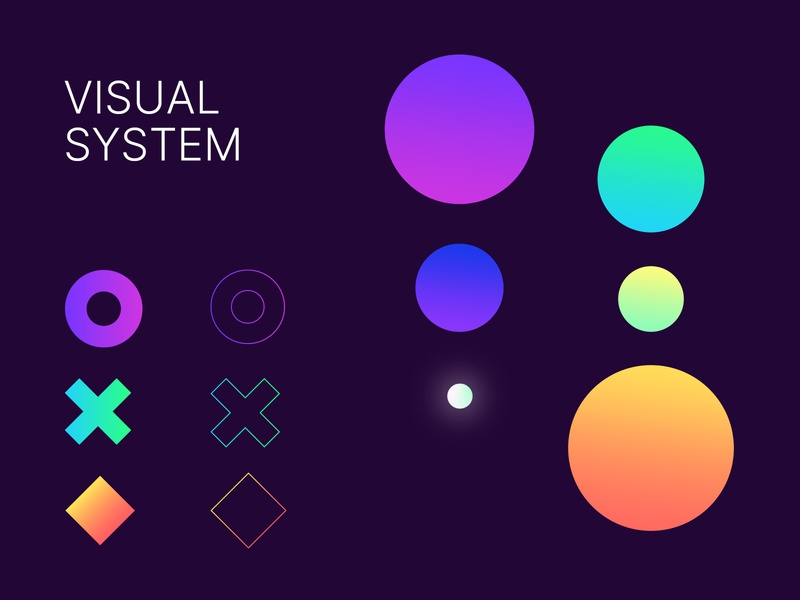 GameOn visual system geometric design geometric bright vibrant gradient colors neon visual colorscheme