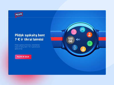 Pildyk landing page uiux uidesign minimal icons colorful red blue prizes ewatch lottery data roaming sms telecommunication ogilvy tele2 internet samsung landingpage pildyk