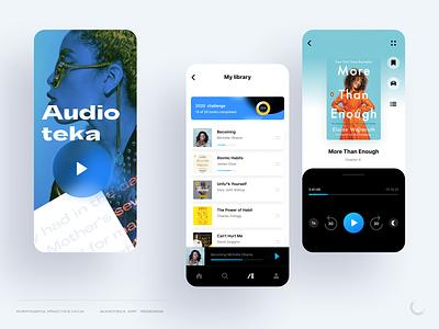 """Audioteka"" app redesign ebooks digital books books audio branding blue player practice purposeful uiux design audiobook audioteka"