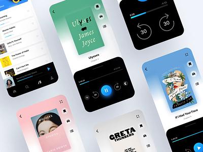 Audioteka app redesign drivingmode kafka typography bright colors app design uidesign ui  ux clean gradient branding modern floating listen audio books blue appdesign audioteka
