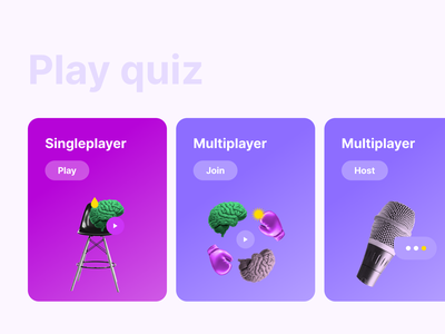 Welcome screen brain illustration violet purple uidesign game play quiz