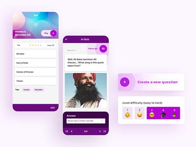 Quiz app screens emoji bright purple cta gameplay uidesign quiz