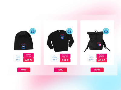 Merchandise cards red blue black hoodie backpack cap telecommunications pildyk emoji bright blur frosted glass cards cta merchandise branding