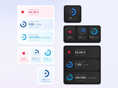 Account balance widgets gradient blue dark ui balance account pildyk widgets
