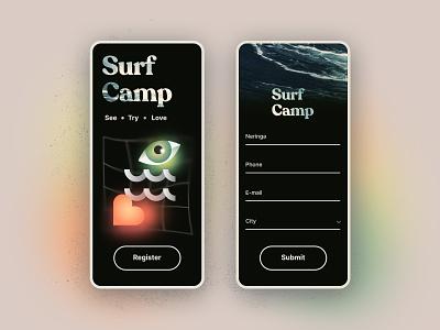 Surf camp registration form typography vector design branding minimal brutalism bauhaus concept ui form mobile surfing