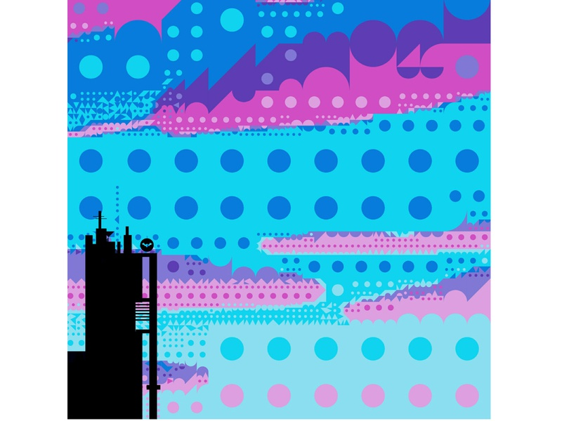 I spy with my little eye signal dc bat pink blue building tower color candy circle batsignal batman art poster adobe sketch flat vector graphic design illustration